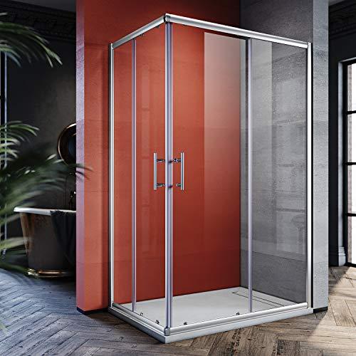 SONNI 120x90cm Eckeinstieg Duschkabine Sicherheitsglas Schiebetür Eckdusche Duschabtrennung Duschschiebetür Glas