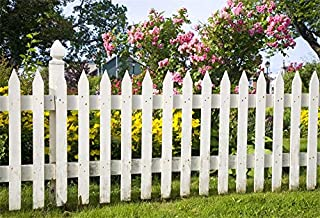 AOFOTO 10x7ft Spring Backdrops for Pictures Old Picket Fence Green Trees Grassland Flowers Foral Photography Background Family Gathering Outdoor Activities Holiday Vacation Portrait Photo Booth Porp