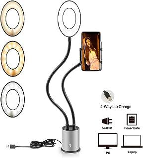 調光照明メイクフィルライト美容モバイルカメラ、スマートフォン、自画像撮影用多機能LEDリングライトキットカメラ/電話ブラケット