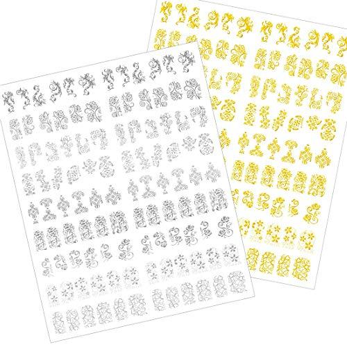 Autocollants Ongles 3D Nail Art Stickers Décalcomanies à ongles Nail Art Design Stickers pour le bricolage Accessoires de décoration Or Argent Noir 3PCS