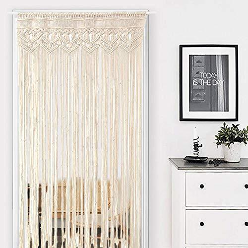 Door Tassel Curtain, Wall Hanging Doorway Window Curtains, Handwoven Boho Wedding Backdrop Room Divider Decorative Curtain Tapestry for Bedroom Living Room Wedding, Beige