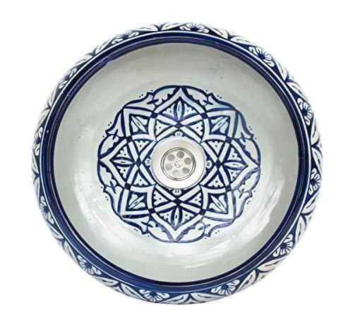Saharashop Orientalisches Keramik Waschbecken Blau 3, Keramik Waschbecken Ø 40 cm, handbemalt Handwaschbecken, Vintage Waschbecken für Küche Badezimmer Gäste-Bad