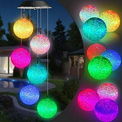 Lyhope Solar Wind Chime Lights, Color Changing Led Mobile Crystal Ball Solar Lights, Waterproof Solar Wind Chimes for Outdoor Garden Patio Yard Decoration