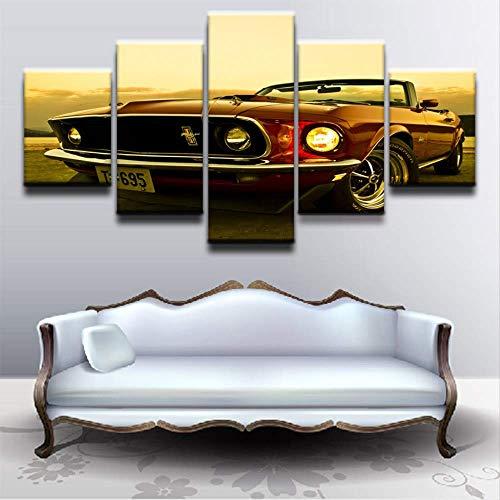 PYLTTK Leinwandbild Modulare Leinwandbilder Wandkunst Home Decor 5 Pieces1969 Mustang Pictures Moderne HD-Drucke Bilder für Wohnzimmerrahmen