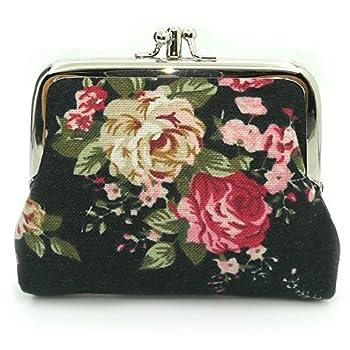 Cute Floral Buckle Coin Purses Vintage Pouch Kiss-lock Change Purse Wallets  01