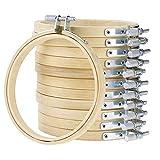 12 Pièces Bambou Cerceaux Réglable Broderie Couture Point de Croix Anneau Set, Cadre Arts Artisanat Soutient...