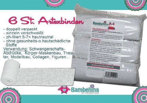 Gipsbinden Bambelina, 6 Stück, Artexbinden, a 8cm x 300 cm, Deutsches Produkt, für Babybauch, Gipsmaske Gesicht, Modellbau,, Theaterrequistite, basteln