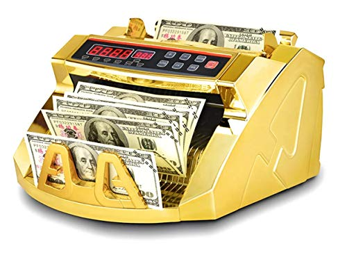 Gold Money Counter with Counterfeit Detection & Bill Counting | Light Up Display | 1,000 Bills a Minute |Fits US Dollar and Larger