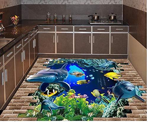 Hauptdekoration 3D Fußboden-Anstrich Brachte Delphine Unterwasserwelt-Wasserdichter Klebender PVC-Fußbodenbelag-Beständiger Hanf Selbstklebend An