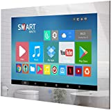 Haocrown Small 19 Inch Touchscreen Waterproof Mirror TV for Bathroom Built-in Smart Android Television HDTV(ATSC) Tuner Wi-Fi Bluetooth Waterproof Speakers (2021 Mode)