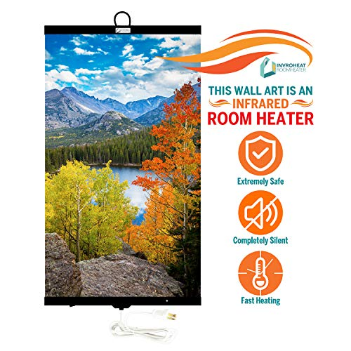 Invroheat - Decorative Wall Hanging Infrared Space Heater/Portable Heater 430W Perfect for Home or Office - Mountain Lake Design Electric Features heaters Home Kitchen Space