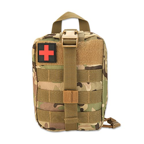 VGEBY1 First Aid Pouch, Survival Medical Utility Bag Military Emergency Backpack with Patch for Traveling Camping Cycling Climbing(Camouflage)