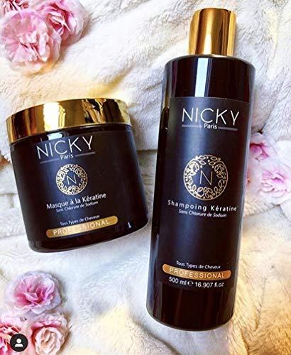 Shampoing + Soin Masque Pack Kératine - Nicky Paris Cosmetics - Cheveux Lisses Brillants - Poudre de Perle - Fortifiant