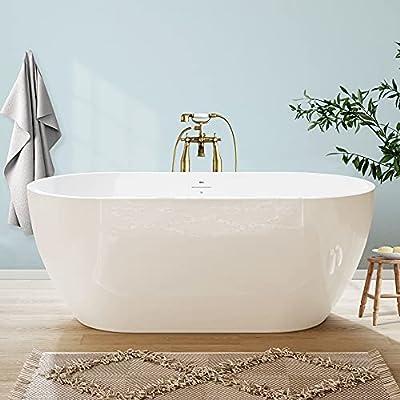 "FerdY Bali 59"" Acrylic Freestanding Bathtub, Gracefully Shaped Freestanding Soaking Bathtub with Brushed Nickel Drain & Minimalist Linear Design Overflow, Glossy White, cUPC Certified, 02538"