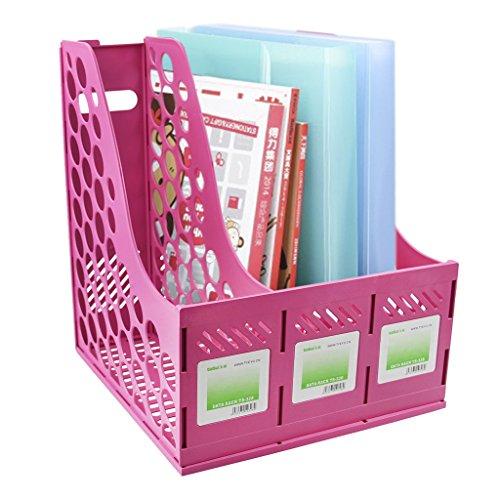File Organiser Rack Magazine Document Holder Divider 3 Sections Office Desk Files Folder Frames, Storage Organiser Sorter Shelf Excellent for School Dormitory,Office,Home Files Storage,Hot Pink