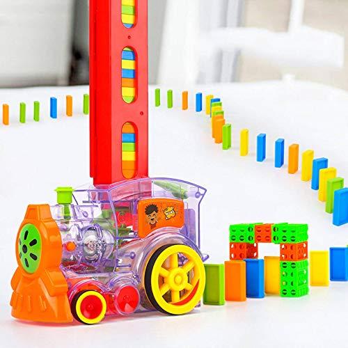N-B Juego de Trenes para niños de 60 Piezas de dominó lanzado automáticamente, vehículo de Coche arcoíris, Tren eléctrico Educativo, Juguete