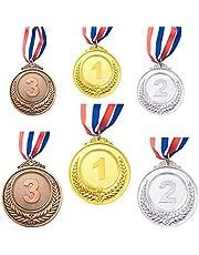 CKANDAY 6 stuks goud zilver brons winner award medaillen, metalen medaillen, prijzen met halsband voor wedstrijden party Olympic Style, 2 maten, 2,55/1,96 inch