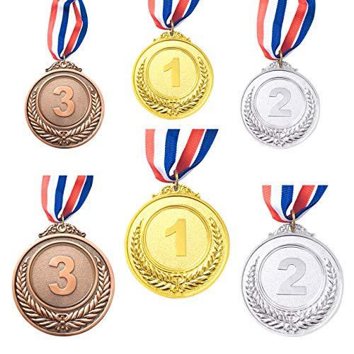 CKANDAY Ganador de 6 piezas de oro, plata, bronce, medallas, medallas de metal, premios con cinta para el cuello para competiciones, fiesta, estilo olímpico, 2 tamaños, 2.55 / 1.96 pulgadas