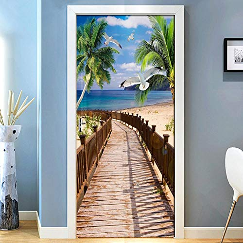 Lyrdream 3D Kokospalme Sea Wall Fenster Tür Aufkleber Removable Poster Wandaufkleber Tür Aufkleber
