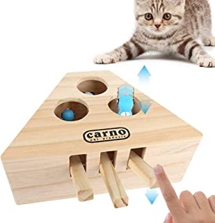 Volwco Cat Hunt Toy Cat Interactive Exercise Toys Wooden Puzzle Box Whack A Mole Mouse Cat Punch Game