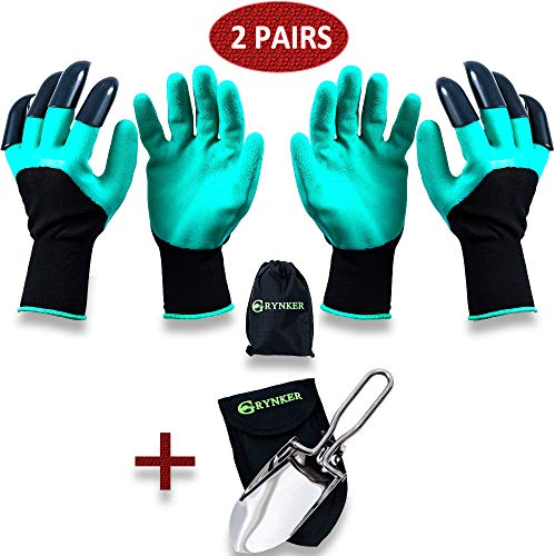 GRYNKER Garden Gloves with Fingertips Claws for Digging - 2 Pairs for Women, Men - Water-Resistant Planting Gardening Weeding Seeding Protect Nails and Fingers Genie Size S-M