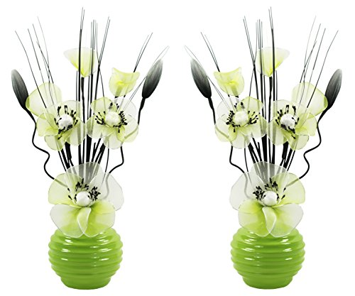 Flourish 723576 Vase avec Paire de Assortie 813 Citron Vert et Blanc Fleurs Artificielles en Nylon, 32 cm, Petit