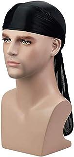 ASHILISIA Silky Soft Men,s Solid Durag (1PC/2PCS/3PCS) Extra Long Tail Wide Straps Headwrap Du-Rag 360 Waves