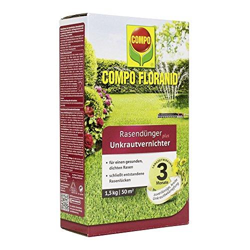 COMPO FLORANID Rasendünger plus Unkrautvernichter, 3 Monate Langzeitwirkung, Feingranulat, 1,5 kg, 50 m²