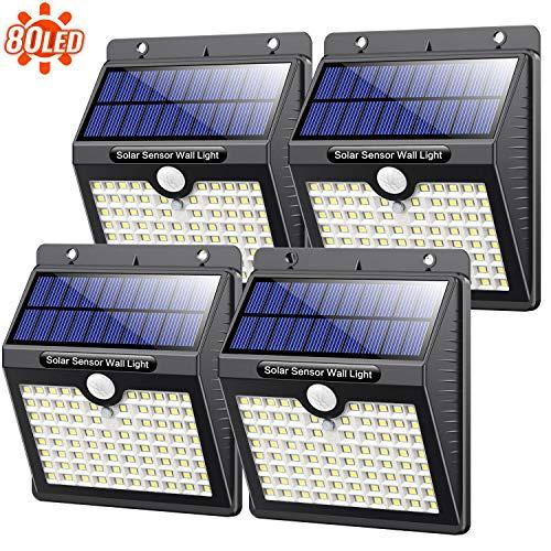Solarlampen für Außen, 【4 Stück】Kilponen 80 Led Solarleuchte für Außen 2000mAh Solar Bewegungsmelder Wasserdichte Wandleuchte 3 Modi Langlebige Solar Aussenleuchte für Garten