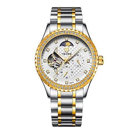 Smartwatches,Vollautomatische Mechanische Uhrenstahlbandgeschäftsonne Mond Und Sterne Herrenarmbanduhr Golden White Nudeln