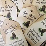 "You Warm Our Hearts Pinecone firestarter Thank you (My SMALL tag) 1 1/8"" x 2"" set of 25 Cardstock tags"