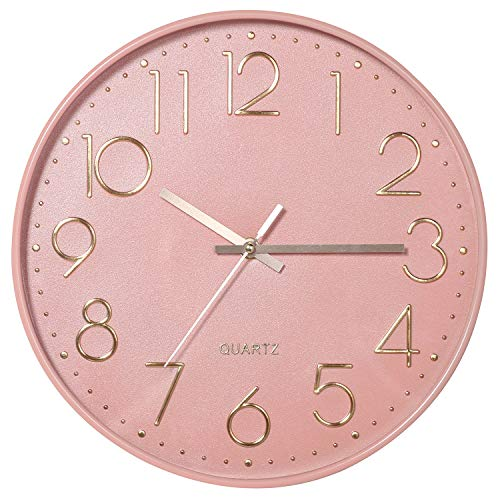 VECELO 12 inch Pink Silent Non-Ticking Wall Clock for Girls, Easy to Hang