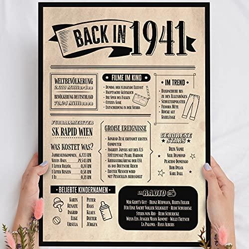 Holzbild: Alte Zeitung - Geschenk 80 Geburtstag Back in 1941 Vintage - personalisierbar zum Hinstellen/Aufhängen optional beleuchtet, 80 Geburtstag Frau - Wand-Bild Aufsteller - persönliches Geschenk