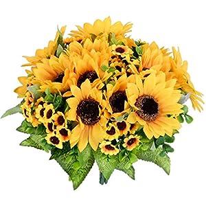 YQing 2 Piezas Artificiales Girasol Ramo Flores, Girasoles de Seda Bouquet Flores Artificiales para la Decoración del…