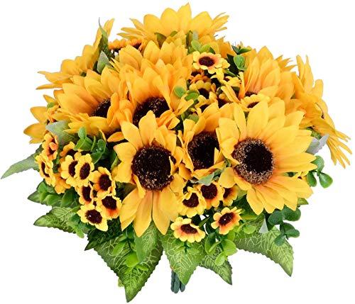 YQing 2 Stück Künstliche Sonnenblumen Deko, Künstlich Blumenstrauß Unechte blumen Seidenblumenstrauß Parteien Dekoration für Hochzeit Party Tischdeko Fotografie DIY Handwerk Dekoration