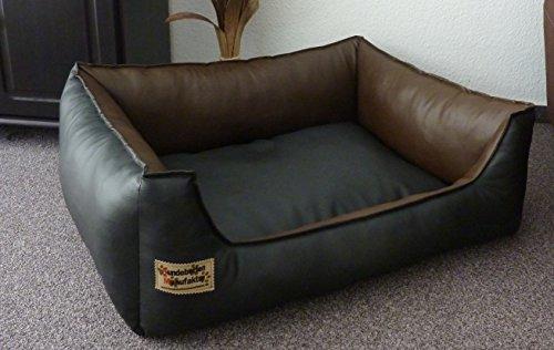 Hundebett Hundesofa Schlafplatz Kunstleder Similpelle Farbe und Größe wählbar von XS bis XXL (50 cm X 40 cm, schwarz braun)
