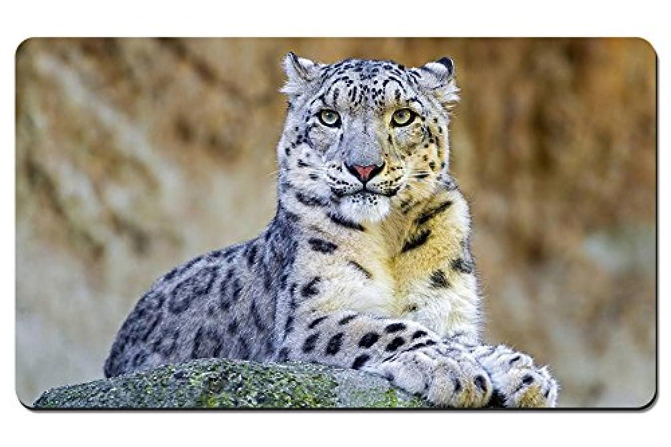 ルーフ科学ジャベスウィルソンユキヒョウ、プレデター、岩 パターンカスタムの マウスパッド 動物 デスクマット 大 (60cmx35cm)