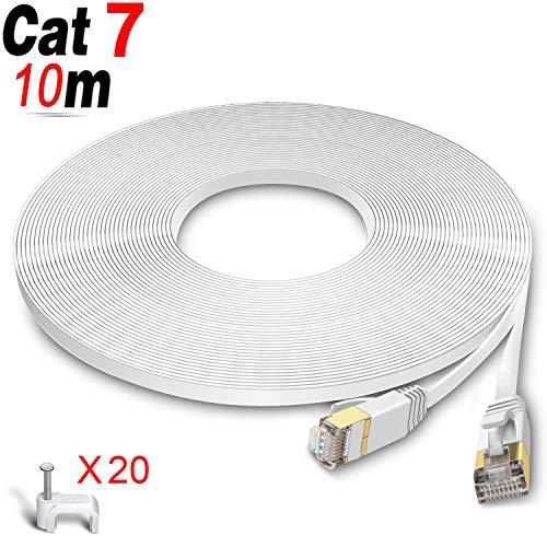 GLCON Cat7 Netzwerkkabel 10m High Speed Ethernet Kabel 600 MHz 10000 Mbit/s Flach LAN Kabel Kompatibel mit Switch/Router/Modem/Patch-Panel Weiß