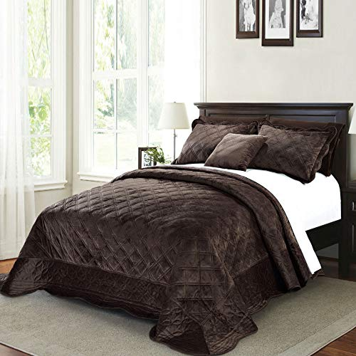 Home Soft Things Supersoft Bedspread & Coverlet Set, 120' x 120', Chocolate