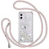 TUUT Funda Glitter Liquida con Cuerda para iPhone 11 6.1', Glitter Cristal Suave Silicona TPU Bumper Protector Carcasa, Brillante Arena Movediza con Colgante Ajustable Cordón Case -Oro Rosa