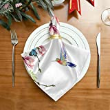 Funnyy Frühling Schmetterling Blume Vögel Stoffservietten waschbar Abendessen Servietten übergroß weich wiederverwendbar Satin Tische Servietten mehrfarbig - 3