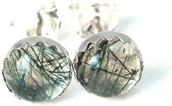 Rutilated Quartz Stud Earrings, One of a Kind Jewelry