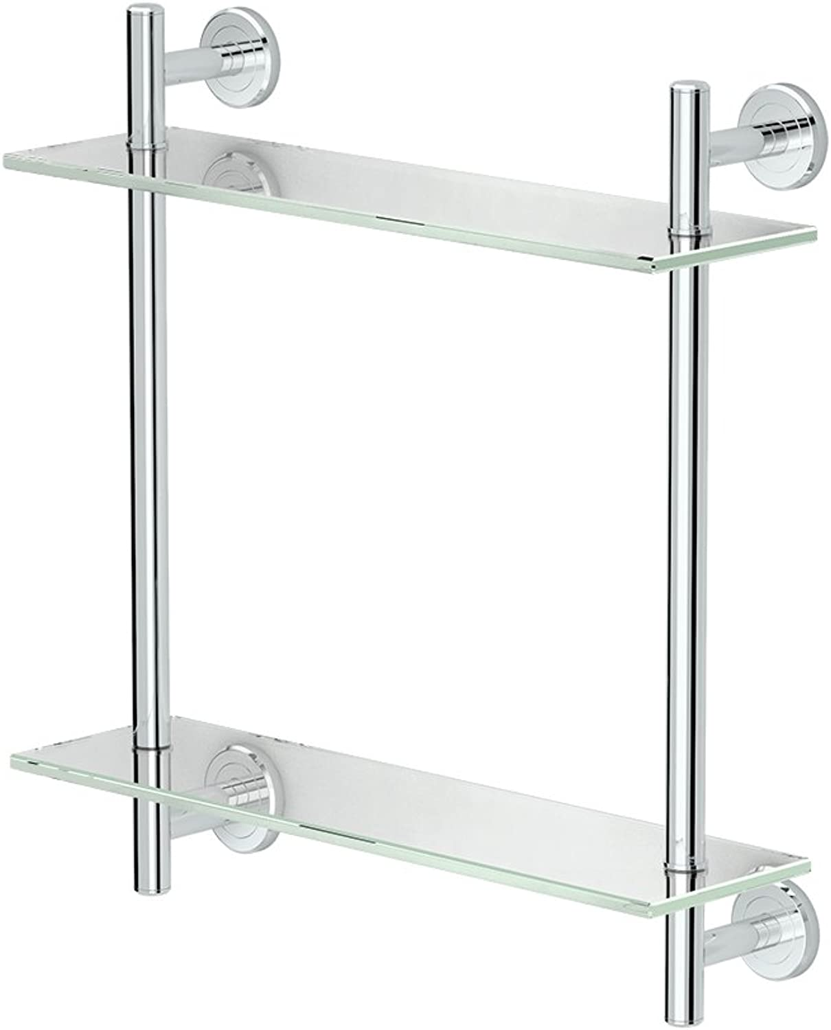 Gatco 1392C Latitude II 17  L Two-Tier Glass Shelf, Chrome