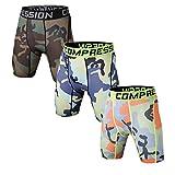 Holure Men's 3 Pack Sport Compression Shorts,Brown,Blue,Green,Stripe,L