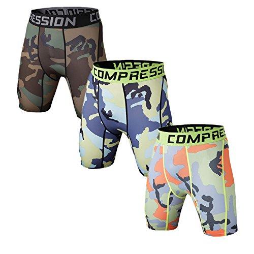 Holure Men's 3 Pack Sport Compression Shorts Mens Underwear Spandex Shorts Workout Running,Brown,Blue,Green,Camo,L