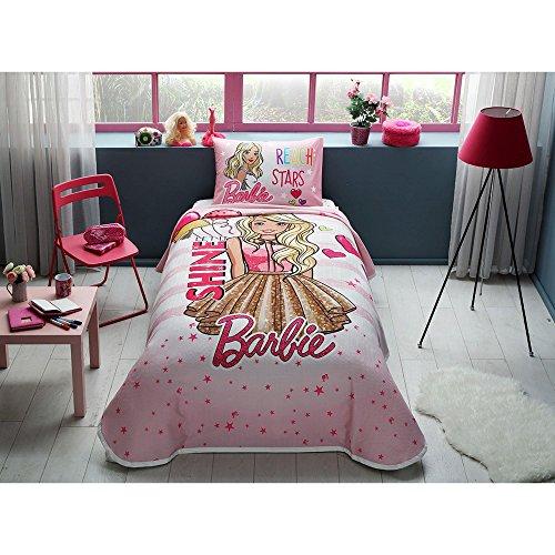 TAC 3-teiliges Barbie Glanz Lizenzprodukt Cartoons Tagesdecke Decke (Pique) Set, 100prozent reine Baumwolle Luxus, Kinder Einzelbett Teenager Größe