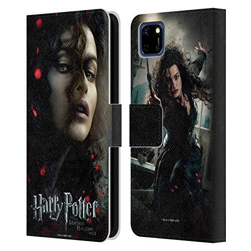 Oficial Harry Potter Bellatrix Lestrange Deathly Hallows VIII Carcasa de Cuero Tipo Libro Compatible con Huawei Y5p / Honor 9S