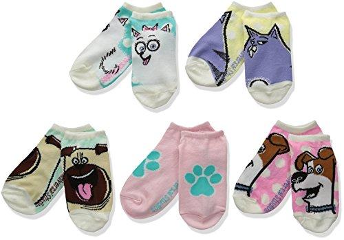 Secret Life of Pets Girls' Little 5 Pack No Show Socks, Assorted, 6-8.5
