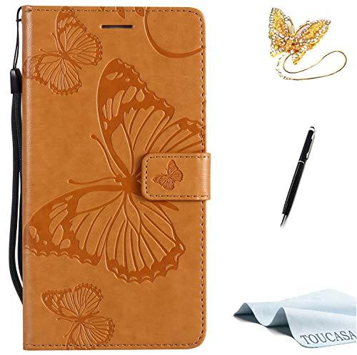 TOUCASA Huawei Honor 6X Handyhülle,Huawei Honor 6X Hülle, Brieftasche flip PU Leder ledercaseHülle Kartenfächer [3D Butterfly] [3D Schmetterling] Embossed Technology fürHuawei Honor 6X-(Braun)