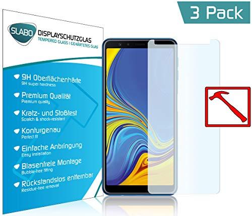 Slabo 3 x Premium Panzerglasfolie für Samsung Galaxy A7 2018 Panzerfolie Schutzfolie Echtglas Folie Tempered Glass KLAR 9H Hartglas